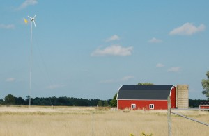 Windmill with Red Barn